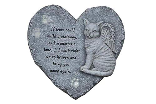 (G-mart Garden Cat Memorial Painted Polystone :Love Heart Shape Stepping Stone and Wall Plaque, The Paws Glow in The Dark - 12