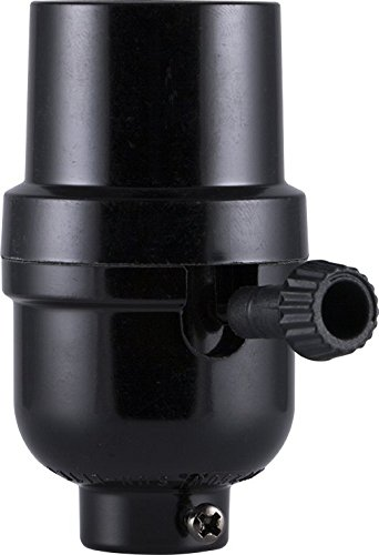 GE 18275 3 Way Phenolic Lamp Socket, Black