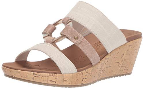 (Skechers Women's Beverlee-Multi-Strap O-Ring Slide Wedge Sandal Natural 7 M US)