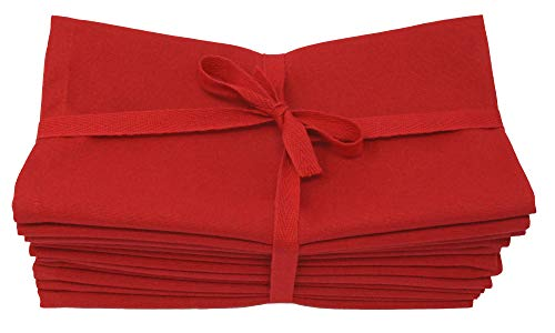 Aunti Em's Kitchen Red Cotton Dinner Napkins Cloth 12 Pack 20x20 100% Natural Oversized Bulk Linens for Dinner, Events, Weddings, Set of 12, Festive Red (Napkins Christmas Red)
