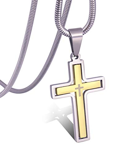 30 Mm Cross Pendant - RMOYI Men's Personalize Rotatable Gold Cross Necklace Stainless Steel Pendant Necklace Chain,24
