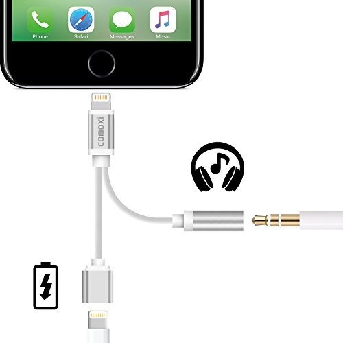 2 in 1 Lightning Adapter for iPhone 7 / 7 Plus, Comoxi Lightning Charger and 3.5mm Earphone Stereo Jack Cable Adapter [No Music Control] for iPhone 7/7 Plus/6s/6/5s/5 - Silver