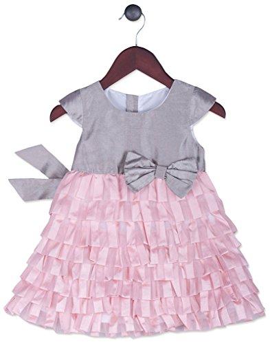 Joe-Ella Big Girls' Tiered Organza and Taffeta Dress, Silver/Pink, 7