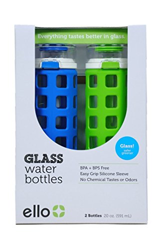 Ello Safe Clean Glass Water Bottles 20oz (2 pk) - Leak Pr...