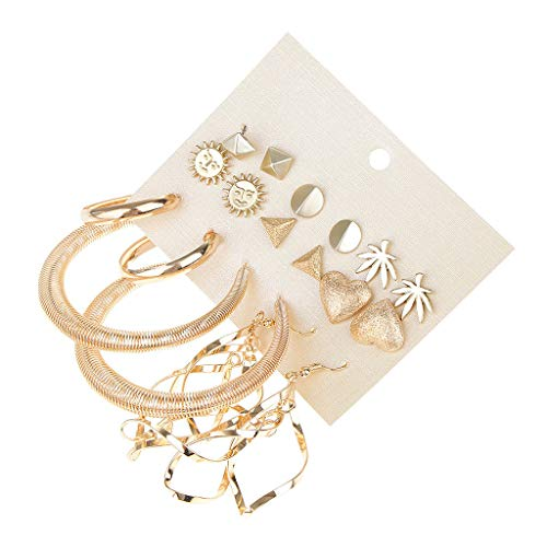 - 9 Pairs Statement Loop Ring Evening Club Party Multi Themed Boho Earrings
