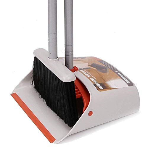 Broom and Dustpan/Dust Pan and Broom Combo Set with Long Handle for Upright Sweep Lobby Office House Kitchen Industry Floor Sweeping 40.5 - 54 Overall Height