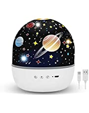 Night Light Projector for Kids, 6 Lighting Modes Baby Projector Light, 360 Degree Rotating Sky Projector Night Lamp Gifts for 1-14 Years Old Girl & Boy, 3 Set of Films