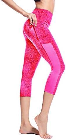 Flatik Sport leggins f/ür damen Sporthose mit Tasche Fitnesshose Blickdicht Gym Capri Leggings