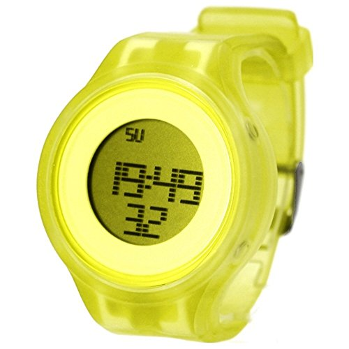 Alexis Ladies Digital Watch Yellow Soft Silicone Band White Dial Alarm Chronograph Backlight 363D