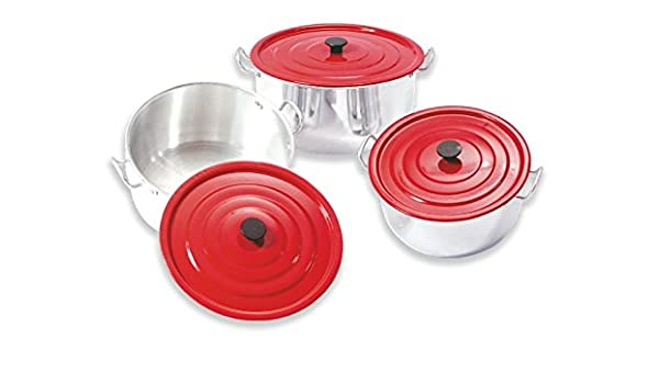 Set of Three Aluminum Professional Non-Stick Pot With Red Cover, 18cm/20cm/22cm - Perfect Cookware For Home Or Restaurant Equipment, The Perfect Cooking ...