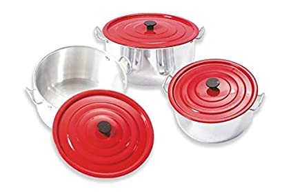 Set of Three Aluminum Professional Non-Stick Pot With Red Cover, 18cm/20cm