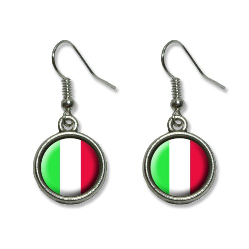 Graphics and More Italy Italian Flag Novelty Dangling Dangle Drop Charm Earrings