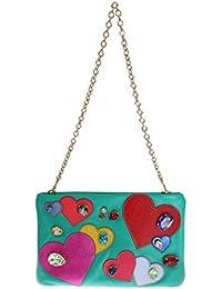 Blue Leather Heart Crystal Clutch Bag