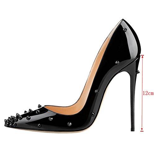 EKS - Zapatos de Tacón Mujer Negro - Schwarz-lackleder-12cm