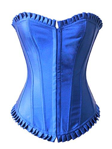Pinkyee Mujer Sexy Satén de plástico Bone Palace corsé Azul