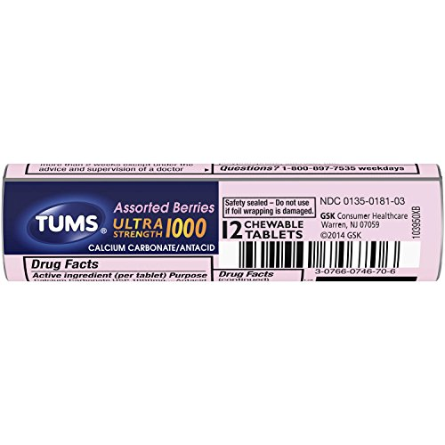 TUMS Antacid Chewable Tablets, Ultra Strength for Heartburn Relief, Assorted Berries, 12 count (Pack of 12) ()