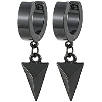 Black Dangling Triangle Pyramid Huggie Hinged Earrings for Men Women Boys, Stainless Steel, 2pcs …