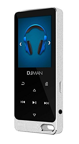 SAMVIX DJ Man 8GB MP3 Player, Sports Hi-Fi Sound Music Metal Player with Build in Speaker and Alarm Clock, with FM Radio 1.8 Inch Full Color Screen, Support up to 128GB, Silver