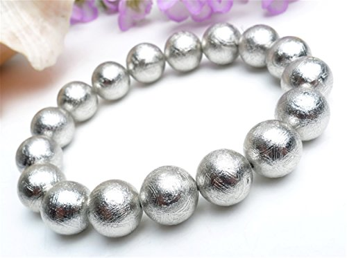 Genuine Natural Silver Plated Gibeon Iron Meteorite Round Bead Powerful Men Bracelet