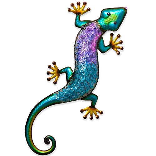 Teresa's Collections 24 Inch Gecko Metal Wall Art Outdoor Lizard Decor For Backyard Porch Home Patio Lawn Fence Decorations ()