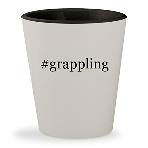 #grappling - Hashtag White Outer & Black Inner Ceramic 1.5oz Shot Glass (Grappling Batman Hook Black)