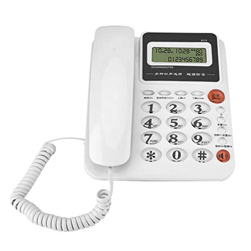 Richer-R Telephone, Landline Telephone Hands-Free Corded Phone with Large Screen Caller ID Display,Landline Battery-Free Home Office Fixed Telephone(White) ()