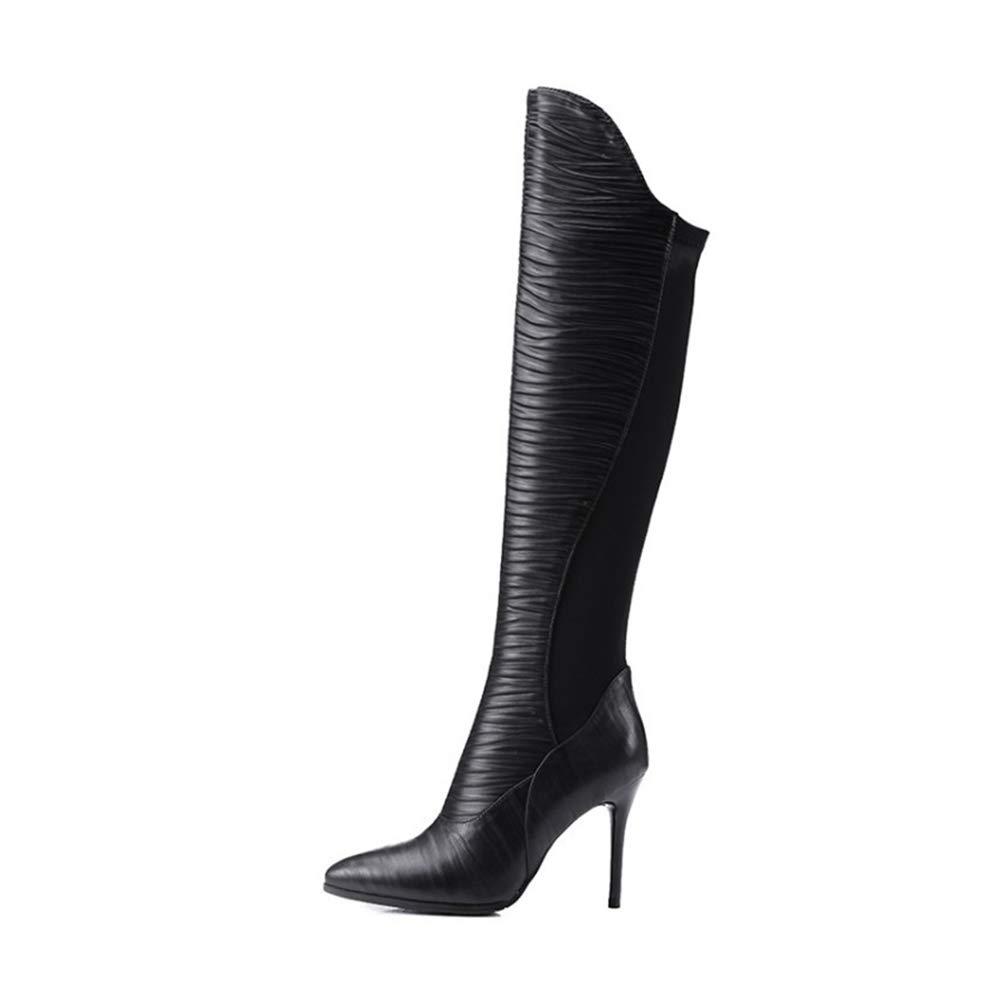 WHL.LL Frauen PU Spitze Schlanker High Heel Stiefel Mode Rom Warm Bleiben Über Den Kniestiefeln Büro Hohe Stiefel (Absatzhöhe  9Cm)