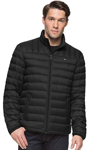 (Tommy Hilfiger Men's Packable Down Jacket (Regular and Big & Tall Sizes), Black, Medium)