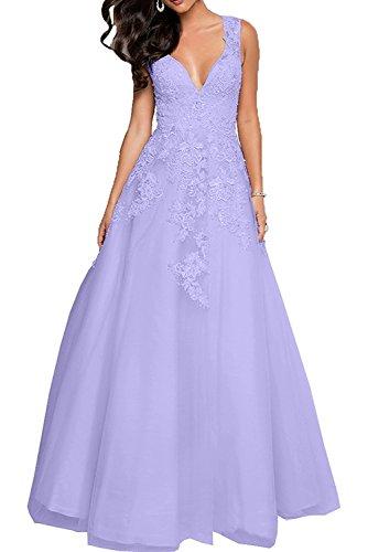 Abendkleider Flieder Spitze Prinzess mia Braut Festlichkleider La Promkleider Perlen Rosa Abschlussballkleider Partykleider Damen w0pq7xX