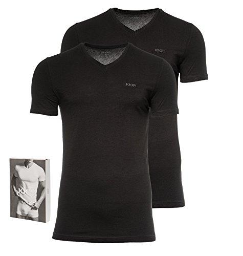 JOOP! Herren 2er-Pack Fine Cotton Stretch V-Neck T-Shirt, Unterhemd, Einfarbig: Farbe: Schwarz | Größe: 4 (Small)