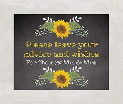 Wedding, Shower Table Sign Advice and Wishes Sign Rustic Chalkboard Sunflowers 8x10