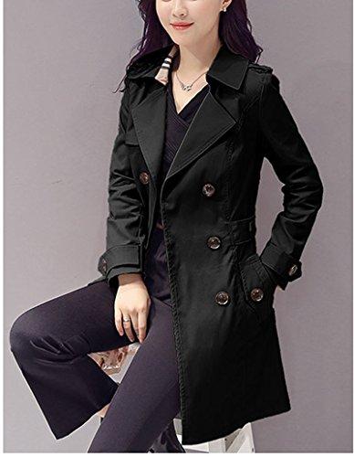 Veste Coat Léger La Double Manches Blansdi Col Femmes Printemps Manteau Mince Et Pour Femme Classique 2017 Modèle Droit Boutonnage D'automne Noir Longues Trench Onn8z4wq