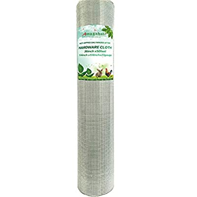 1/4 Hardware Cloth 36 x 50 23 gauge Galvanized Welded Wire Metal Mesh Roll Vegetables Garden Rabbit Fencing Snake Fence for Chicken Run Critters Rattlesnake Gopher Racoons Opossum Rehab Cage Window from F&T