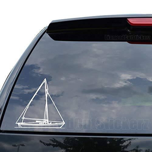 DiamondCutStickerz Sailboat Sailing Decal Sticker Car Truck Motorcycle Window Ipad Laptop Wall Decor - Size (09 inch / 23 cm Tall) - Color (Gloss - Bumper Sticker Decal 09
