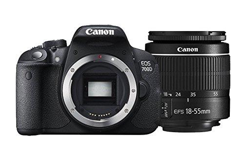 """Canon EOS 700D EF-S 18-55 DC III - Cámara réflex digital de 18.0 MP (pantalla táctil de 3.0"""", objetivo(s) 18-55mm f/3,5 -5,6 III), color negro"""