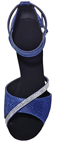 Nice Dance Swing Tango Party Practice Prettier PU Cha Sole Sudue Glitter Blue Ballroom Shoes Latin Peep Cha Ankle 3IN Womens Wedding Toe Straps Professional Find df7pcqXwf