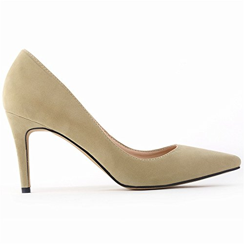 Shoes Pointed High Toe Women's Fashion apricot Classic Pumps Dress Stiletto Heels w7qIz