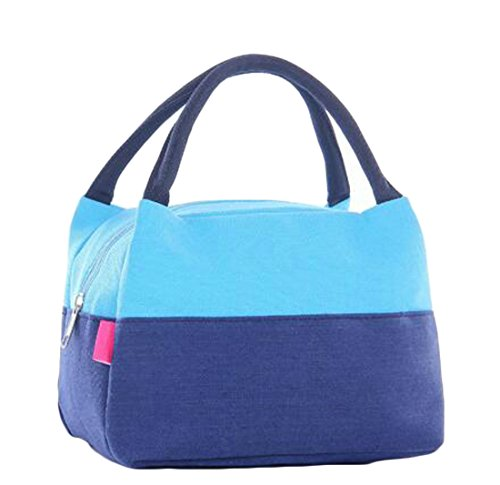 Wofupowga Portable Color Blocl Picnic Lunch Bag Recycled Waterproof Lunch Box Fruits Food Lunch Pouch Food Carrier Bag Handbag Sky (Recycled Drawstring Backpack)