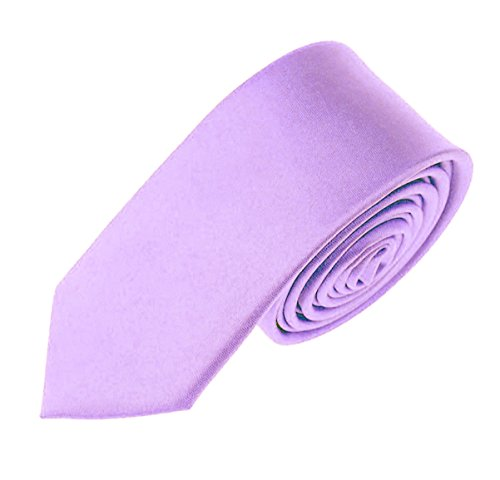Solid Color Boys Tie Children and Teen's Skinny Necktie 2.5 inches (Lavender)