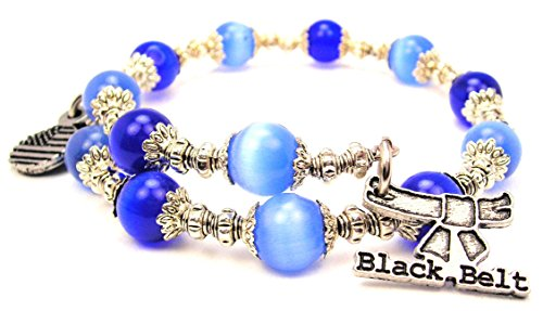 Black Charm Bracelet Cat (Chubby Chico Charms Black Belt Cat's Eye Wrap Charm Bracelet in Sapphire Blue)