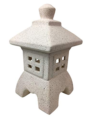 Asian Pagoda Indoor/Outdoor Candle Lantern White Stone Garden ()