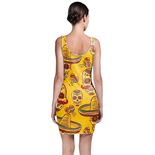 Azúcar de calaveras mexicanas en oro bodycon vestido XS-3X L sin mangas elástico corto vestido
