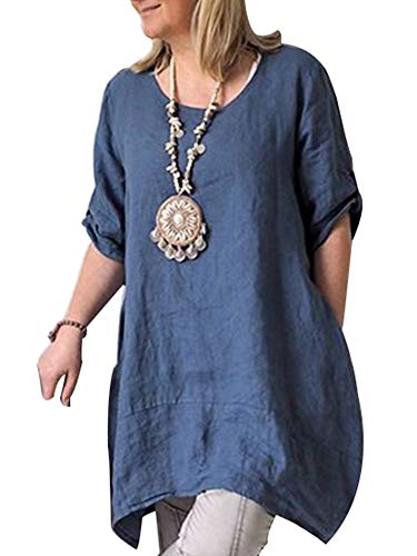 - Cicy Bell Women's Cotton Linen Tunic Tops Half Sleeve Summer Loose Fit Casual Dresses (Blue,XXX-Large)