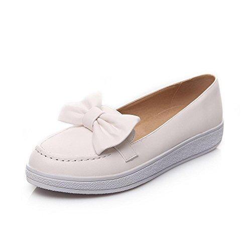 VogueZone009 Damen PU Leder Niedriger Absatz Rund Zehe Pumps Schuhe Weiß