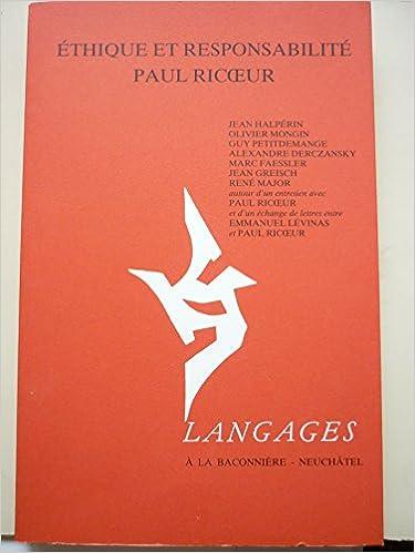 Téléchargement ETHIQUE ET RESPONSABILITE PAUL RICCOEUR epub, pdf