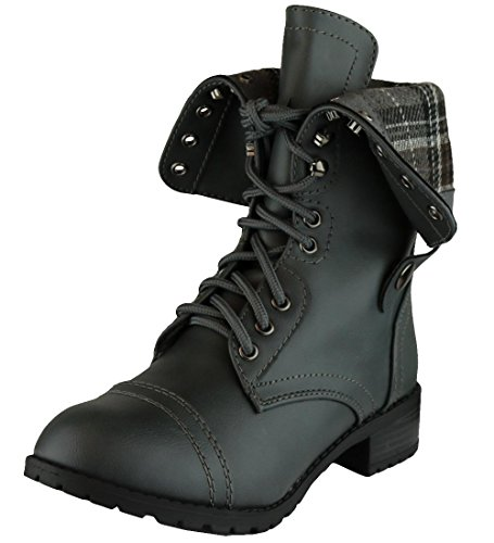 Cambridge Select Women's Fold-Over Cuff Lace-Up Chunky Stacked Heel Combat Boot Grey Pu