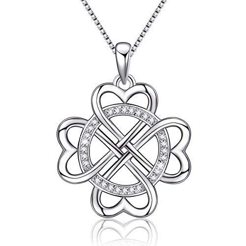 925 Sterling Silver Vintage Endless Love Heart Irish Celtic Knot Pendant Necklace,Box Chain 18''