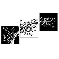 Wieco Art Leaves Modernos 3 paneles Flores Ilustraciones Giclée Impresiones en lienzo Blanco y negro Abstracto Floral Árboles Imágenes Pinturas sobre lienzo Arte de la pared para la sala Dormitorio Decoraciones para el hogar