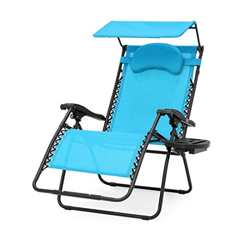 Oversized Extra Large Zero Gravity Chair Outdoor Patio Adjustable Recliner Comfortable Adjustable Padded Headrests W/Folding Canopy Shade and Cup Holder - Aqua/Blue #1902 (Furniture Outdoor Australia Sets)