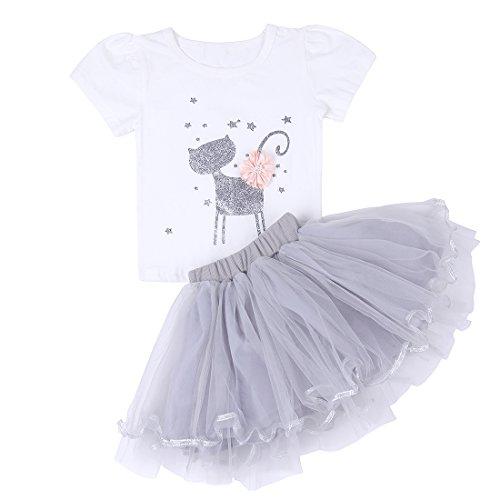 - ChicNChic Baby Girl Birthday Princess Dress Sets Short Sleeve Cat Tops Tutu Skirt Outfits (18M (12-18 Months), White)
